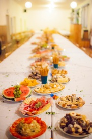 After the dinner and on top of the table of cakes, this spread was put out. So much food!